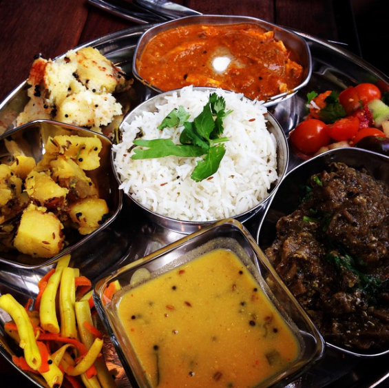 Farmer Sunil's thali plate at Sovereign Remedies. Photo by Stu Helm.
