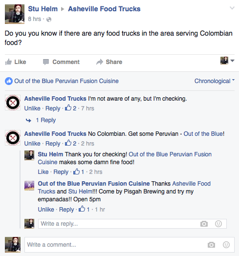 Stumped! No Colombian food trucks in Asheville.