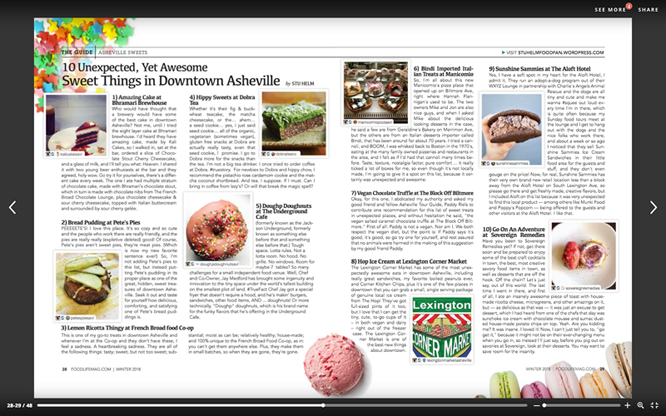 Above: Two-page spread in the Winter 2018 issue of Food Life Magazine –  screen shot from issu.com